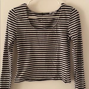 Cropped striped long sleeve shirt